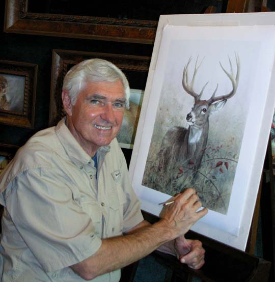 Larry K. Martin,wildlfe artist signature technique of painting with a soft acrylic