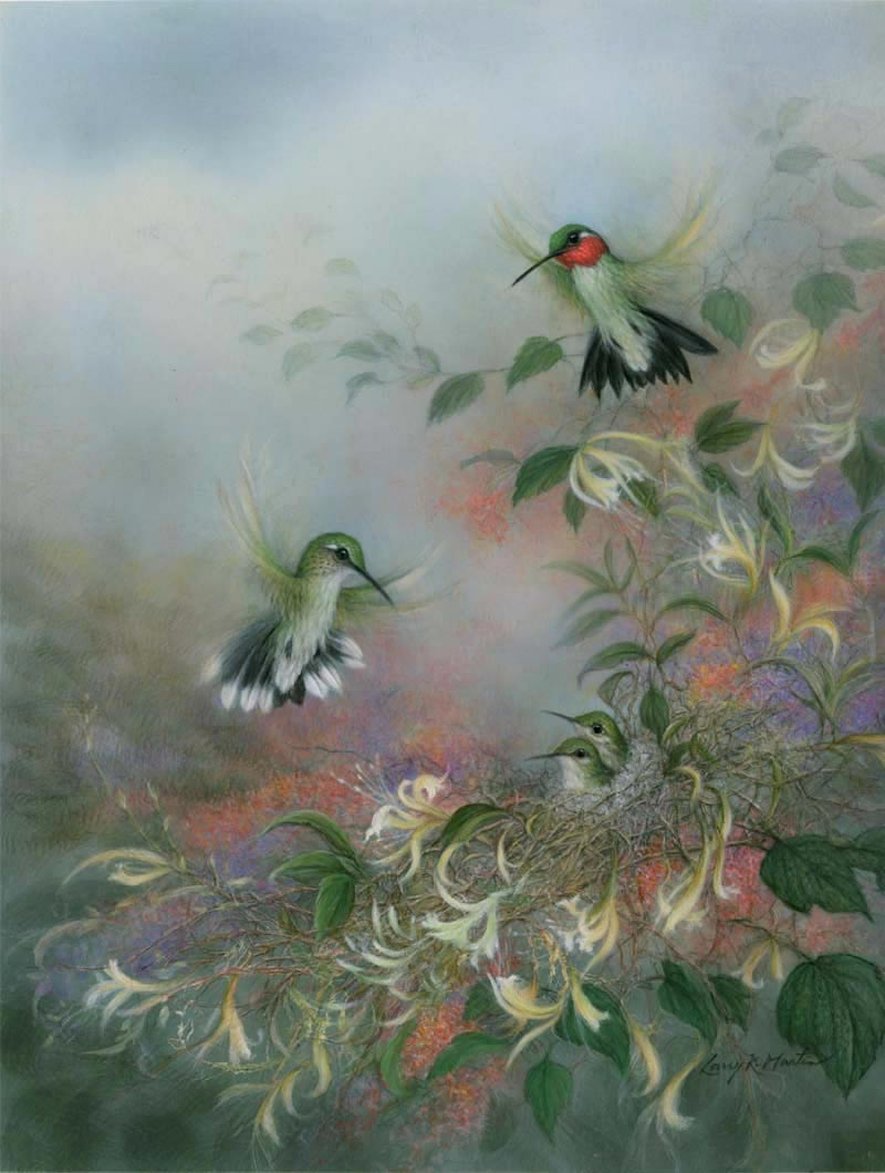 """Nestled"" Ruby-Throated Hummingbird Family by American wildlife artist Larry K. Martin"