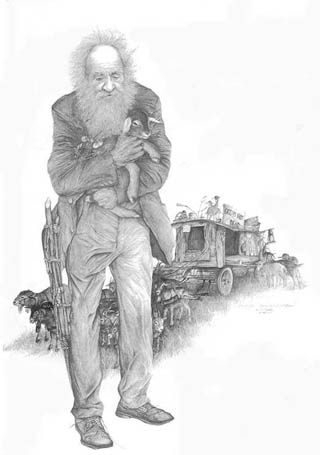 """America's Goatman"" Ches McCartney by American artist Larry K. Martin"