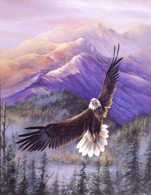 """Purple Mtn Majesties"" Bald Eagle - America the Beautiful Series"