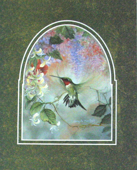 """Ruby Throat and Honeysuckle"" by American wildlife artist Larry K. Martin"