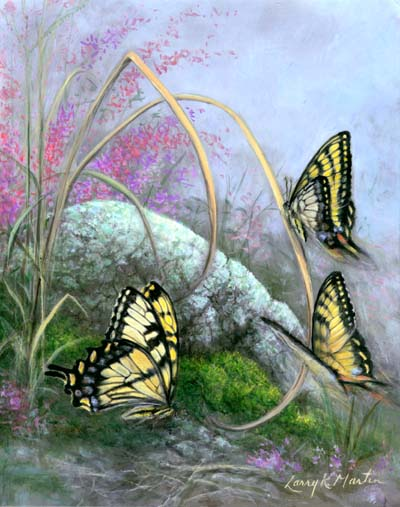"""Swallowtails"" butterflies by American wildlife artist Larry K. Martin"